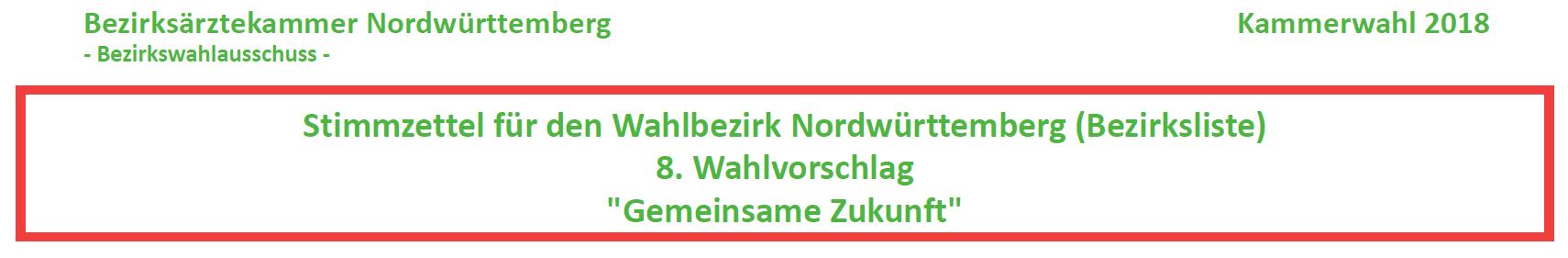 """Bezirksärztekammer Nordwürttemberg: Stimmzettel für den Wahlbezirk Nordwürttemberg (Bezirksliste) 8. Wahlvorschlag """"Gemeinsame Zukunft"""""""
